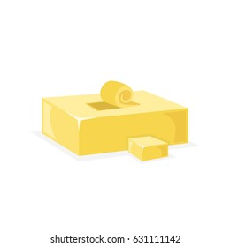 Bar of butter with one slice on the top. Flat vector illustration.