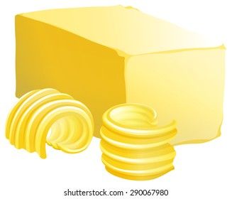 Bar of butter with two slices on the side