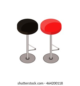 Bar chair isometric. Bar stool isometric. Red and brown bar stools, chairs