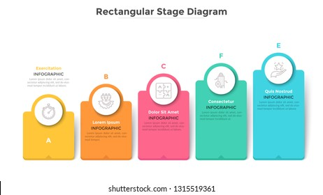 Bar chart with 5 colorful rectangular elements or columns. Ascending trend with five stages, business progress and growth visualization. Modern infographic design template. Flat vector illustration.