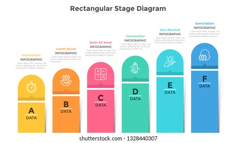 Bar chart with 6 colorful columns. Ascending trend with six stages, business development and growth visualization. Modern infographic design template. Flat vector illustration for progress report.