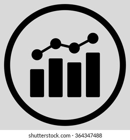 Bar Chart Analytics vector icon. Style is flat circled symbol, black color, rounded angles, light gray background.