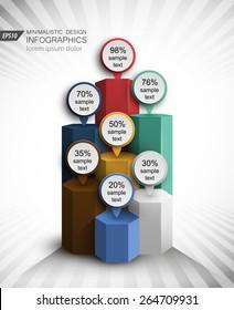 bar chart concept design 3d vector infographics element