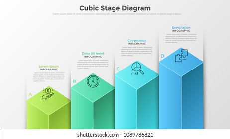 Bar chart or diagram with 4 colorful cubic columns, letters, thin line symbols and text boxes. Concept of four stages of business development. Modern infographic design template. Vector illustration.
