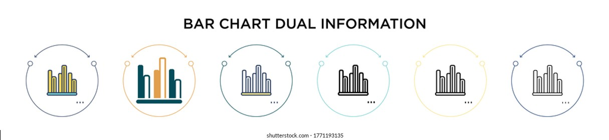 Bar chart dual information icon in filled, thin line, outline and stroke style. Vector illustration of two colored and black bar chart dual information vector icons designs can be used for mobile,