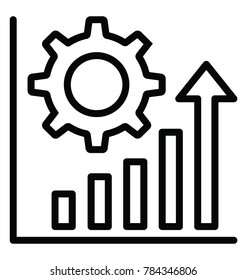 A bar chart with gear, increase productivity line icon