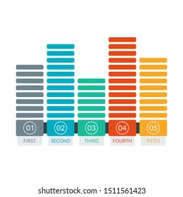 Bar chart graph. Business presentation, timeline infographic concept with 5 steps option or levels. Vector illustration.
