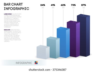 Bar chart infographic template. Abstract 3D digital business Infographic. Can be used for workflow process, business pyramid, banner, diagram, number options, work plan, web design. Isolated vector