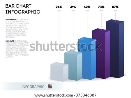 bar chart infographic template abstract 3 d のベクター画像素材