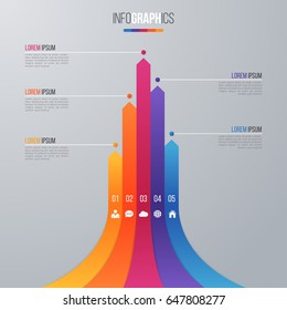 Bar chart infographic template for data visualization with 5 options.