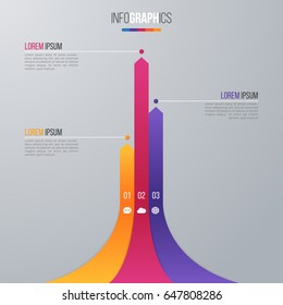Bar chart infographic template for data visualization with 3 options.
