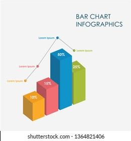 Bar Chart Infographics Elements 3D Vector Flat Design, Sign, Icon Full Color, Template