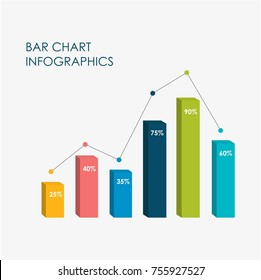 Bar Chart Infographics Elements 3D Vector Flat Design, Sign, Icon Full Color.