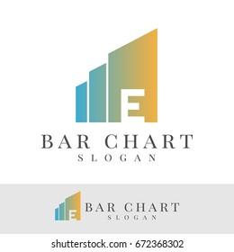 bar chart initial Letter E Logo design
