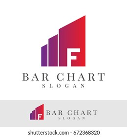 bar chart initial Letter F Logo design