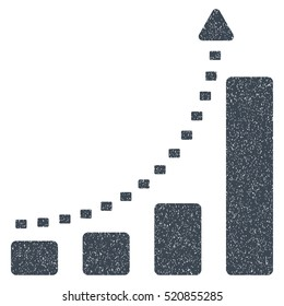Bar Chart Positive Trend grainy textured icon for overlay watermark stamps. Flat symbol with scratched texture.