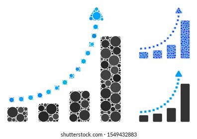 Bar chart trend composition of circle elements in various sizes and shades, based on bar chart trend icon. Vector circle elements are organized into blue illustration.