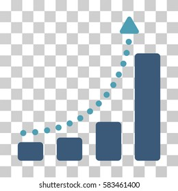 Bar Chart Trend vector icon. Illustration style is flat iconic bicolor cyan and blue symbol on a transparent background.