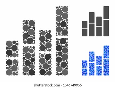 Bar charts mosaic of spheric dots in variable sizes and color hues, based on bar charts icon. Vector dots are united into blue mosaic. Dotted bar charts icon in usual and blue versions.