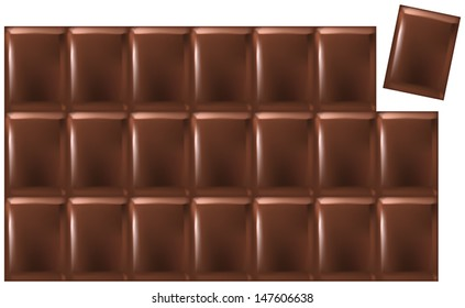 Bar Of Chocolate - Vector of a chocolate bar consisting of 21 single pieces that can be arranged individually. Isolated on white background.