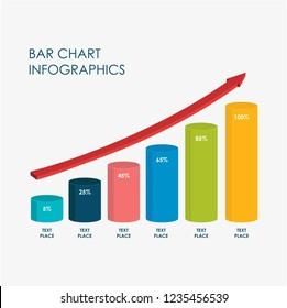 Bar, Circle Chart Infographics Elements 3D Vector Flat Design, Full Color