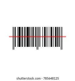 Bar code, black and white icon with red laser light, vector illustration.