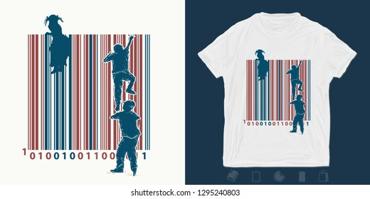 Bar code. Children climb over fence. Print for t-shirts and another, trendy apparel design. ymbol of freedom and slavery, consumer society, globalization, future of mankind, digital world, big brother