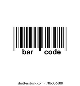 Bar code icon, black and white icon with bar code text, vector illustration.