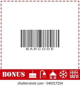 Bar code icon flat. Simple vector symbol and bonus icon