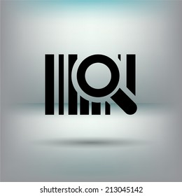Bar code icon with magnifying glass