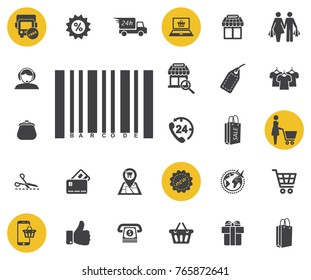 Bar code icon on white background. Simple shopping icons set. Universal shopping icon to use for web and mobile UI, set of basic UI shopping elements.