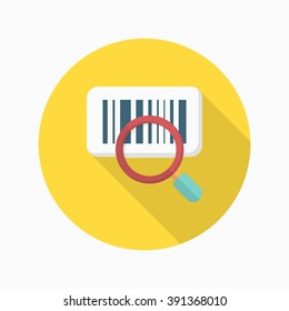 Bar code icon, Vector flat long shadow design. Shipping and logisticst concept.