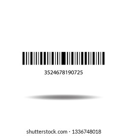 Bar code icon vector with numbers and pattern of parallel lines flat sign symbols logo illustration isolated on white background black color.Concept object design for product.