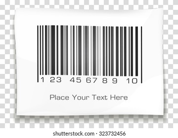 Bar code label with shadow on a transparent background. Vector illustration.