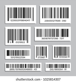 Bar Code Set Vector. UPC Bar Codes. Universal Product Code. Market Trademark. Isolated Illustration