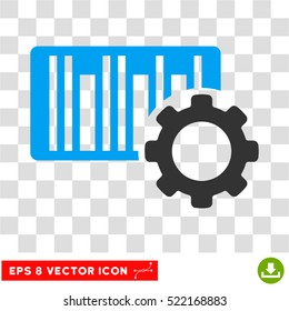 Bar Code Settings EPS vector pictograph. Illustration style is flat iconic bicolor blue and gray symbol on white background.