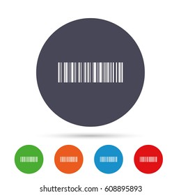 Bar code sign icon. Scan code symbol. Coded word - success! Round colourful buttons with flat icons. Vector