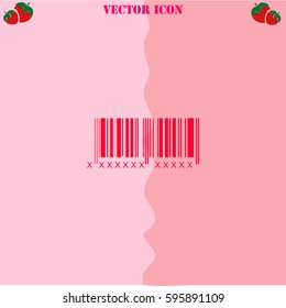 Bar code vector  icon. Strawberry Background.