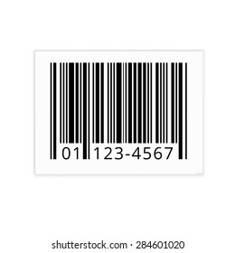 Bar code white sticker with shadows. Vector illustration isolated