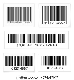 Bar codes set of white sticky notes with shadows. Vector illustration isolated