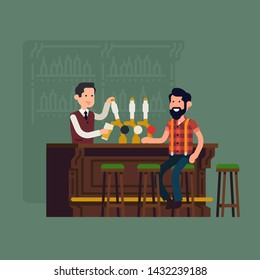 Bar concept illustration. Bartender serving customer at bar counter pouring beer from tap. Pub, tavern or restaurant interior scene with man about to enjoy a pint of beer