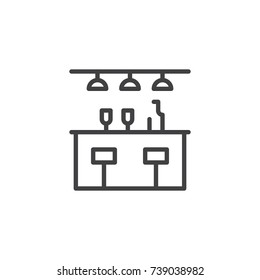 Bar counter with a bottle and glasses line icon, outline vector sign, linear style pictogram isolated on white. Symbol, logo illustration. Editable stroke