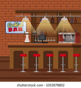 Bar counter. Pub beer tap pump, stools, shelves with alcohol bottles. Pub with beer glasses. Cartoon vector isolated illustration