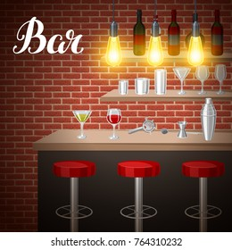 Bar counter in pub or night club. Illustration of interior with accessories, beverages and cocktails.
