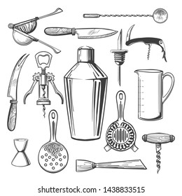 Bar equipment tools. Cocktail drinks mixing accessories, stirrer and jigger, spoon and shaker bar professional instruments for bartender, vector illustration