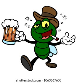 Bar Fly with Beer - A vector cartoon illustration of a Bar Fly with Beer.