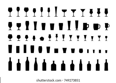 Bar glasses and bottles, icon set black silhouettes. Vector