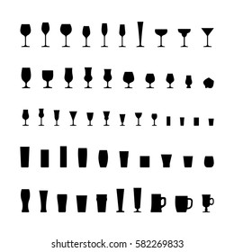 Bar glassware black silhouette icons set