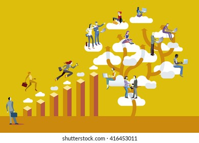 Bar Graph and Cloud Computing. Business man and business women scale through a bar graph working together and reaching successful.