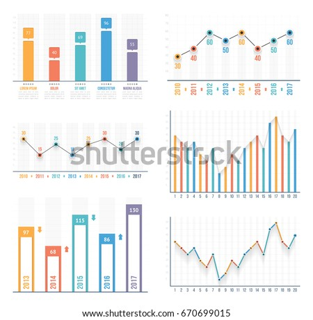 bar graph line graph templates business stock vector royalty free